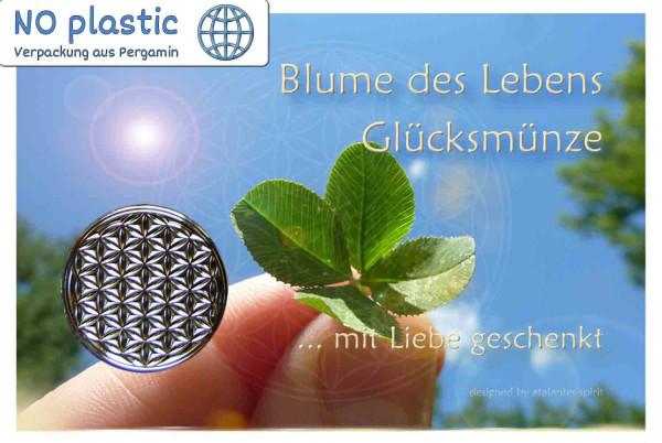 Blume des Lebens Glücksmünze | Farbe silber | Vorderseite auf Kärtchen | EnerChrom® ist eine Marke von atalantes spirit®
