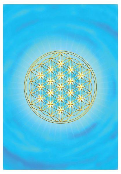 Postkarte | Blume des Lebens Kehlchakra - mit glänzendem UV-Lack