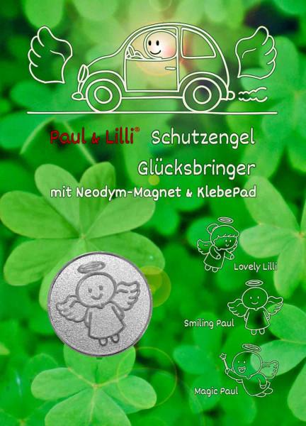 Schutzengel Smiling Paul Auto-Magnet als Glücksbringer auf Flyer | Farbe silber | designed by atalantes spirit®