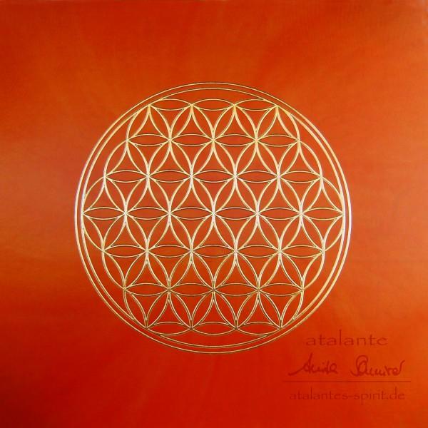 Blume des Lebens Postkarten mit goldener Reliefprägung | Sakralchakra orange | designed by atalantes spirit®