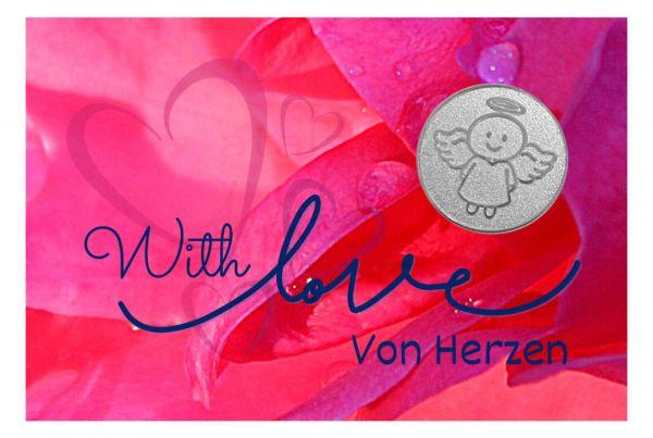 Engelige Grüße - Von Herzen - Schutzengel Smiling Paul silber - Engelkärtchen pink VS - by atalantes spirit