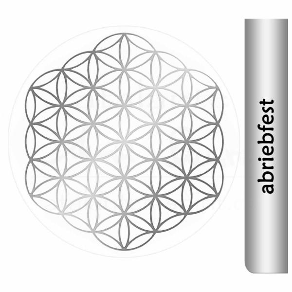 Blume des Lebens Aufkleber - ohne Außenkreise - Prägung mit glänzendem Silber auf Transparentfolie - abriebfest | Farbe silber | Größe 3 cm | designed by atalantes spirit®