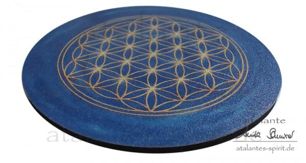 Blume des Lebens Untersetzer | Farbe dunkelblau | Stirnchakra | seitliche Ansicht | designed by atalantes spirit®