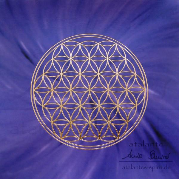 Blume des Lebens Postkarten mit goldener Reliefprägung | Kronenchakra violett | designed by atalantes spirit®