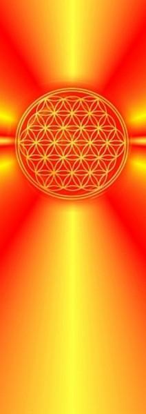 Blume des Lebens Lesezeichen | Motiv: gelb-orange Strahlen | designed by atalantes spirit®
