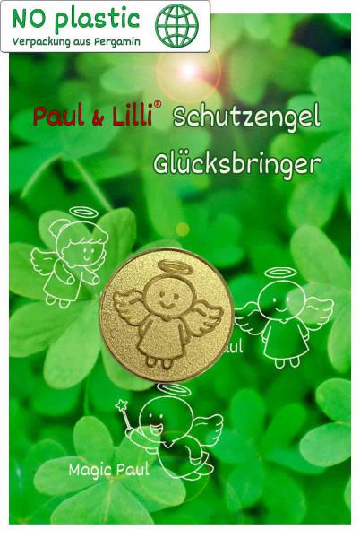 Schutzengel Smiling Paul Glücksmünze | Farbe gold | Vorderseite auf Kärtchen | EnerChrom® ist eine Marke von atalantes spirit®