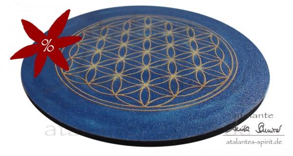 Blume des Lebens Untersetzer | Farbe dunkelblau | Stirnchakra | seitliche Ansicht | II. Wahl | designed by atalantes spirit®