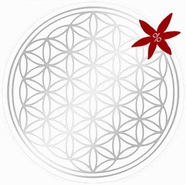Aufkleber SILBER 5 cm SET = 7 Stück   Blume des Lebens - II. Wahl   B-Ware