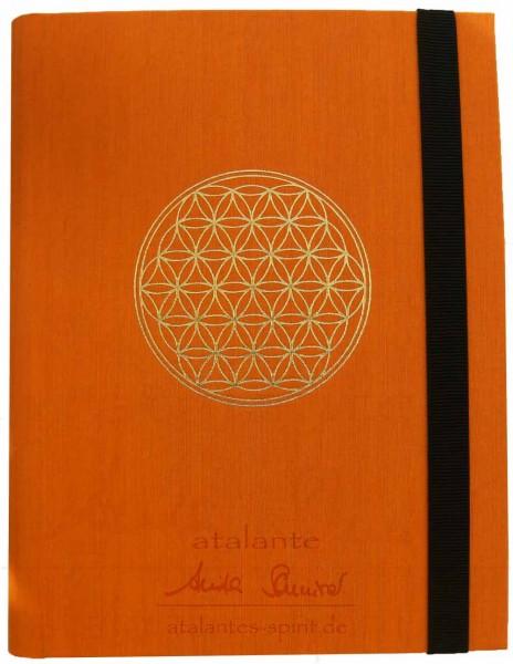 Blume des Lebens ChangeBook | DIN A4 | orange mit goldener Prägung | designed by atalantes spirit®