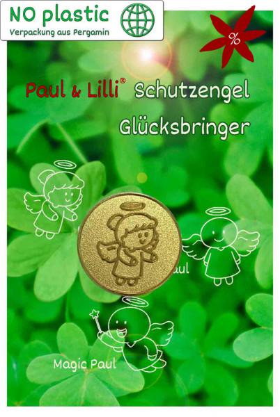 Schutzengel Lovely Lilli Glücksmünze - II. Wahl | B-Ware | Farbe gold | Vorderseite auf Kärtchen | EnerChrom® ist eine Marke von atalantes spirit®