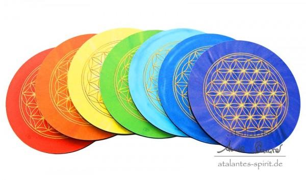 Blume des Lebens Untersetzer | Farbe alle Chakrenfarben | designed by atalantes spirit®
