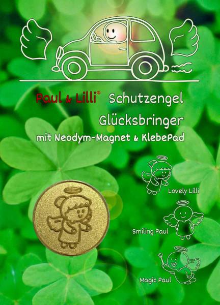 Schutzengel Lovely Lilli Auto-Magnet als Glücksbringer auf Flyer | Farbe gold | designed by atalantes spirit®