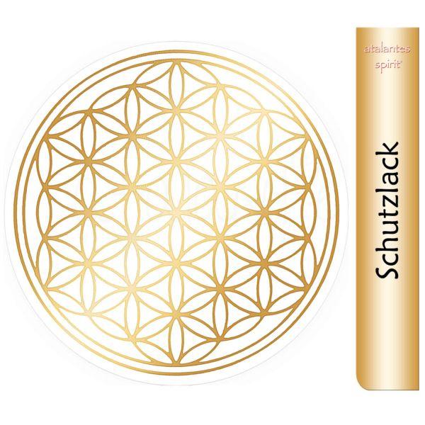 Aufkleber GOLD mit Schutzlack   Blume des Lebens