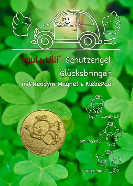 Schutzengel Magic Paul Auto-Magnet als Glücksbringer auf Flyer | Farbe gold | designed by atalantes spirit®