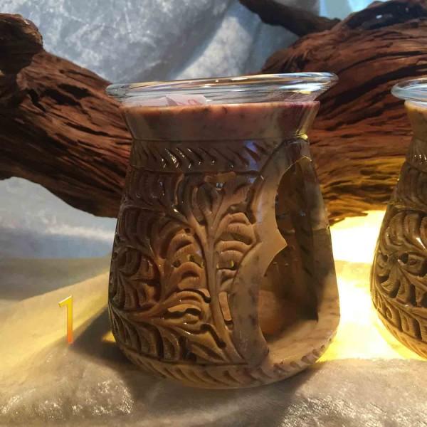 Duftöllampe Speckstein mit Glaseinsatz