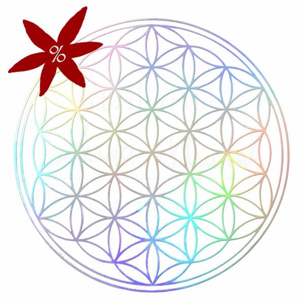 Aufkleber HOLOGRAMM 5 cm, abriebfest | Blume des Lebens = 10 Stück - II. Wahl | B-Ware