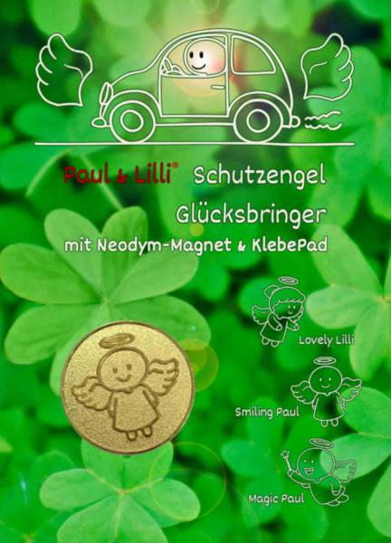 Schutzengel Smiling Paul Auto-Magnet als Glücksbringer auf Flyer | Farbe gold | designed by atalantes spirit®
