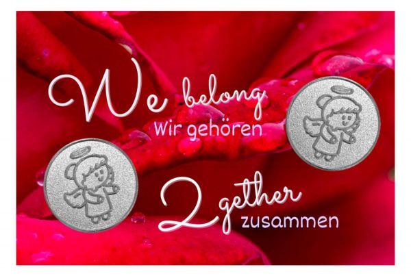 Engelige Grüße - Wir gehören zusammen - Schutzengel Lovely Lilli silber - Engelkärtchen rot VS - by atalantes spirit