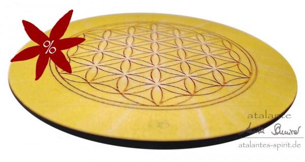 Blume des Lebens Untersetzer | Farbe gelb | Solarplexus-Chakra | seitliche Ansicht | II. Wahl | designed by atalantes spirit®
