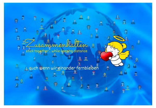 Engelige Grüße - Paul & Lilli Schutzengel - Zusammenhalten - Postkarte blau VS - by atalantes spirit
