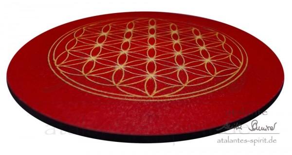 Blume des Lebens Untersetzer | Farbe rot | Wurzelchakra | seitliche Ansicht | designed by atalantes spirit®