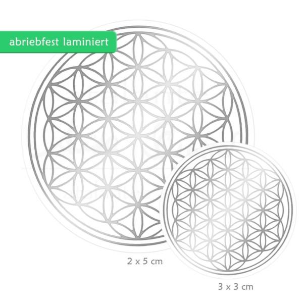 Blume des Lebens Aufkleber SET S: 3 x 3 cm & 2 x 5 cm | Glänzender Silberdruck auf Transparentfolie | zusätzlich abriebfest laminiert | Farbe silber | designed by atalantes spirit®