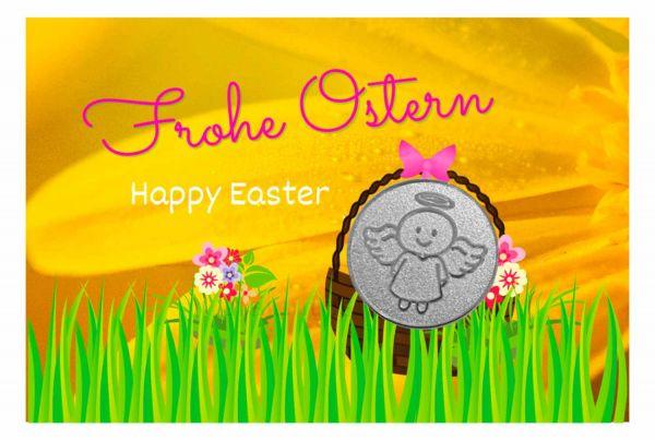 Engelige Grüße - Frohe Ostern - Schutzengel Smiling Paul silber - Engelkärtchen gelb VS - by atalantes spirit