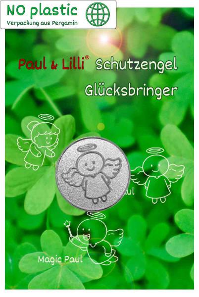 Schutzengel Smiling Paul Glücksmünze | Farbe silber | Vorderseite auf Kärtchen | EnerChrom® ist eine Marke von atalantes spirit®