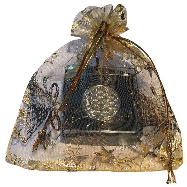 Blume des Lebens Kleider-Button mit Neodym-Magnet   Farbe silber   weihnachtlich verpackt   designed by atalantes spirit®