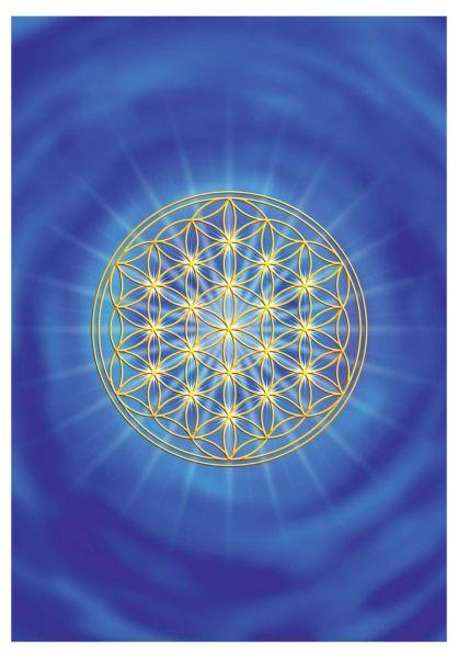 Postkarte   Blume des Lebens Stirnchakra - mit glänzendem UV-Lack