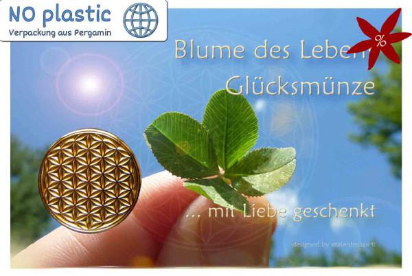 Blume des Lebens Glücksmünze - II. Wahl | B-Ware | Farbe gold | Vorderseite auf Kärtchen | EnerChrom® ist eine Marke von atalantes spirit®
