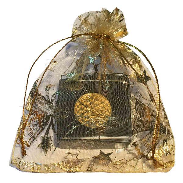 Blume des Lebens Kleider-Button mit Neodym-Magnet | Farbe gold | weihnachtlich verpackt | designed by atalantes spirit®