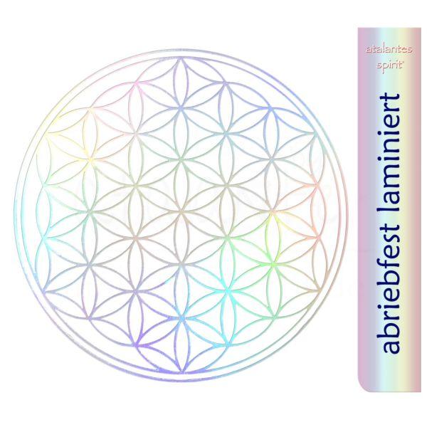 Aufkleber HOLOGRAMM mit Laminierfolie | Blume des Lebens