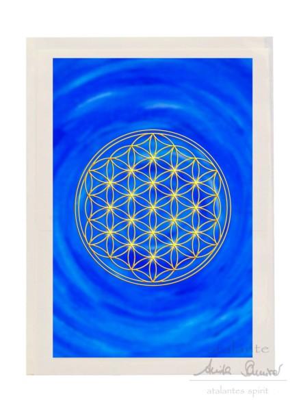 Blume des Lebens Doppelkarte mit Kuvert als Grußkarte | Stirnchakra dunkelblau | designed by atalantes spirit®