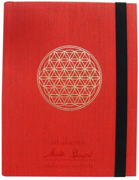 Blume des Lebens ChangeBook | DIN A4 | kirschrot mit goldener Prägung | designed by atalantes spirit®