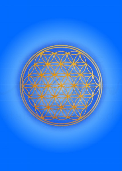 Blume des Lebens Postkarten   Motiv: Kehlchakra - hellblau   designed by atalantes spirit®