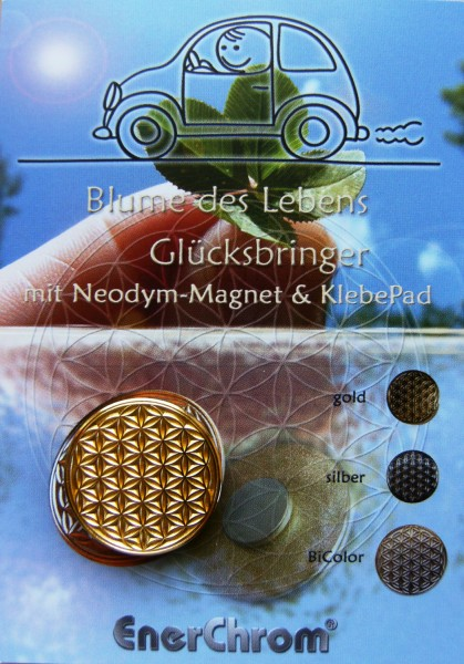 Blume des Lebens Auto-Magnet als Glücksbringer auf Flyer | Farbe gold | designed by atalantes spirit®