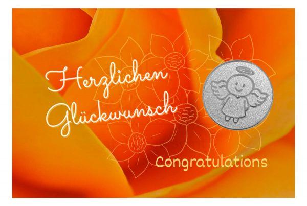 Engelige Grüße - Herzlichen Glückwunsch - Schutzengel Smiling Paul silber - Engelkärtchen orange VS - by atalantes spirit