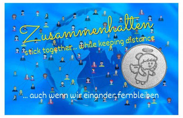 Engelige Grüße - Zusammenhalten - Schutzengel Lovely Lilli silber - Engelkärtchen blau VS - by atalantes spirit
