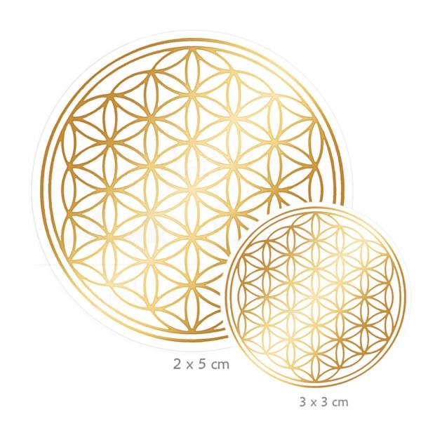 Blume des Lebens Aufkleber SET S: 3 x 3 cm & 2 x 5 cm | Glänzender Golddruck auf Transparentfolie | Farbe gold | designed by atalantes spirit®