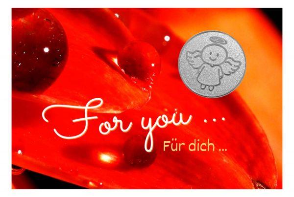 Engelige Grüße - Für Dich - Schutzengel Smiling Paul silber - Engelkärtchen orange VS - by atalantes spirit