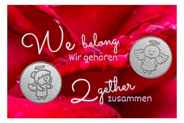 Engelige Grüße - Wir gehören zusammen - Schutzengel Smiling Paul & Lovely Lilli silber - Engelkärtchen rot VS - by atalantes spirit