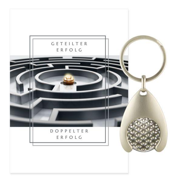 Blume des Lebens Schlüsselanhänger ERFOLG - Silber Double