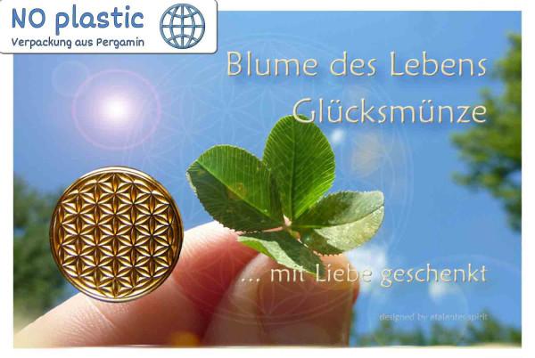 Blume des Lebens Glücksmünze | Farbe gold | Vorderseite auf Kärtchen | EnerChrom® ist eine Marke von atalantes spirit®
