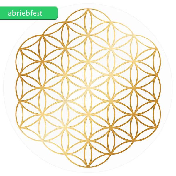 Blume des Lebens Aufkleber - ohne Außenkreise - Prägung mit glänzendem Gold auf Transparentfolie - abriebfest | Farbe gold | Größe 3 cm | designed by atalantes spirit®