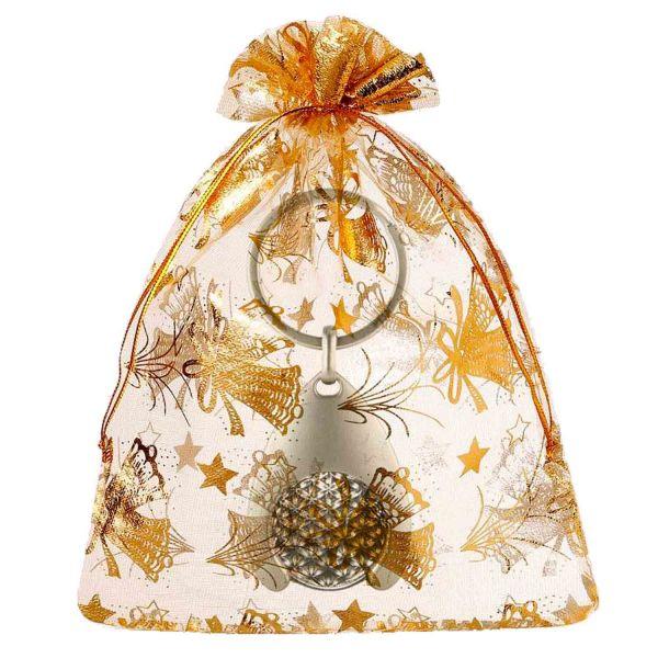 Blume des Lebens Schlüsselanhänger mit Glücksmünze | Farbe silber | Geschenkverpackung Weihnachten | designed by atalantes spirit®
