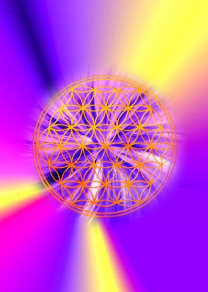 Blume des Lebens Postkarten | Motiv: gelb-violette Strahlen | designed by atalantes spirit®