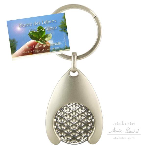 Blume des Lebens Schlüsselanhänger mit Glücksmünze | Farbe silber | Vorderseite | designed by atalantes spirit®