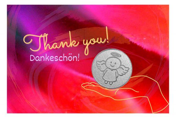 Engelige Grüße - Danke - Schutzengel Smiling Paul silber - Engelkärtchen pink VS - by atalantes spirit