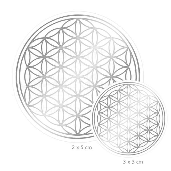 Blume des Lebens Aufkleber SET S: 3 x 3 cm & 2 x 5 cm | Glänzender Silberdruck auf Transparentfolie | Farbe silber | designed by atalantes spirit®
